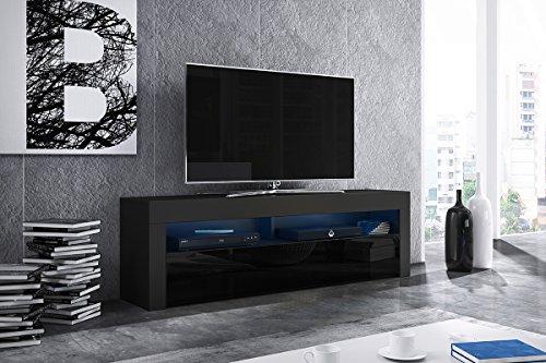 Alan – TV-Lowboard / TV-Bank / Fernsehschrank (160 cm, verschiedene Farbvarianten, LED in Blau)
