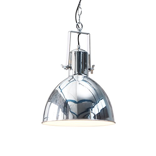 Design Hängelampe FACTORY II chrom 40 cm Industrielampe E27 Hängeleuchte Industrie Pendelleuchte Pendellampe
