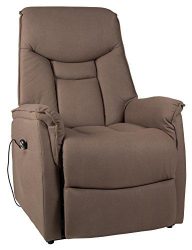 Duo Collection Fernseh-TV-Sessel London XXL, belastbar bis 150 kg, Aufstehhilfe, Motor, Liegefunktion, stufenlos elektrisch verstellbar, Fernbedienung, Stoff-Bezug Amarillo-Mikrofaser, dunkelbraun