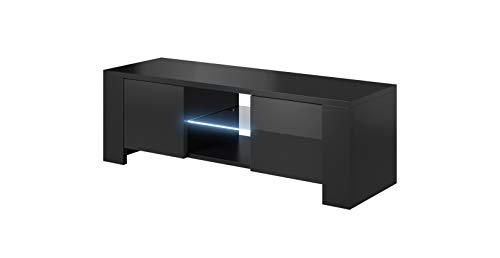 E-Com TV Board Lowboard Lux, Korpus in Schwarz matt/Front in Schwarz Hochglanz - 130 cm - MIT LED