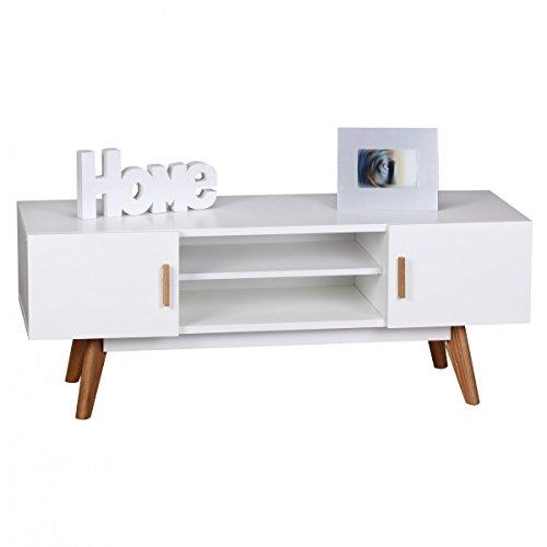 FineBuy Retro TV Lowboard SCANIO 120 cm MDF-Holz Landhaus 2 Türen & Fach | HiFi Regal 4 Füße | Fernseher Kommode Skandinavisch