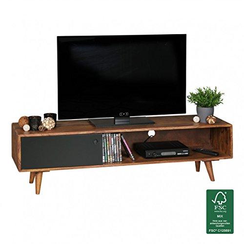 FineBuy TV Lowboard REPA 140 cm Massiv-Holz Sheesham Landhaus 2 Türen & Fach | HiFi Regal braun 4 Füße | Fernseher Kommode Vintage