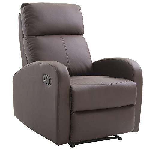 Homcom Relaxsessel Verstellbar Liegesessel Sessel Fernsehsessel Wohnzimmer mit Liegefunktion Schwarz/Braun