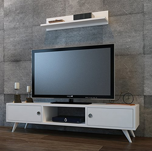 Homidea Aspen Wohnwand - Weiß/Nussbaum - TV Lowboard mit Wandregal in modernem Design