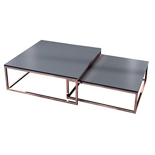 Invicta Interior Design Couchtisch 2er Set Big Fusion anthrazit Kupfer Satztische Wohnzimmertisch Tischset