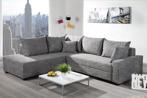 Invicta Interior Design Ecksofa APARTMENT Strukturstoff grau Federkern Sofa Schlaffunktion