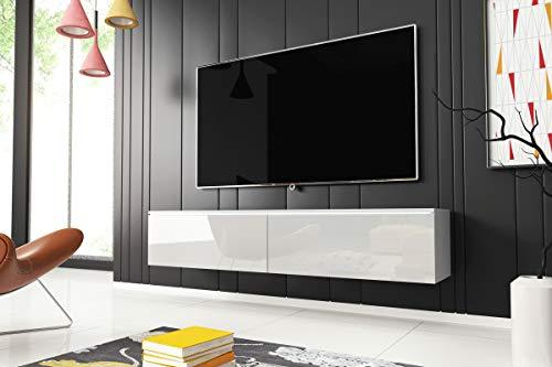 Kane – Fernsehschrank/TV-Lowboard Hängend in Weiß Hochglanz mit LED 140cm