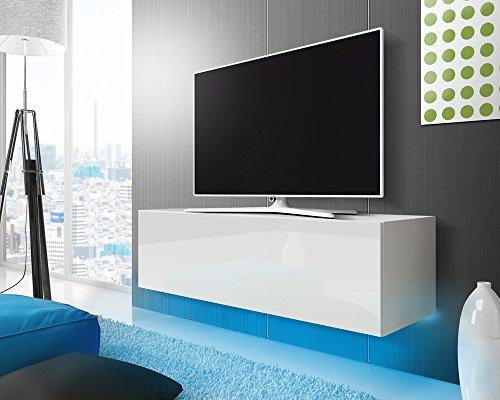 Lana – Fernsehschrank/TV-Lowboard mit LED Modern Hängend 140 cm (Weiß Matt/Weiß Hochglanz)