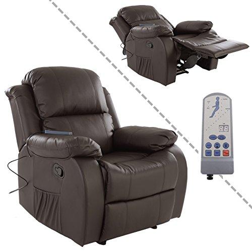 MACO Import Fernsehsessel mit Vibrationsmassage und Wärmefunktion aus Kunstleder in braun