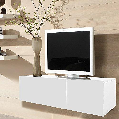 Melko 120CM TV Lowboard Fernsehschrank Sideboard aus Holz, Weiß, ca. 120 x 40 x 33 cm (B x H x T), inkl. Gasdruckfedern