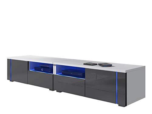 Mirjan24  TV Schrank Alvin 12, TV Lowboard inkl. LED Beleuchtung, Grifflose Öffnen, Fernsehschrank, Fronten in Acryl-Hochglanz, Fernsehtisch, TV Möbel Board, TV Bank
