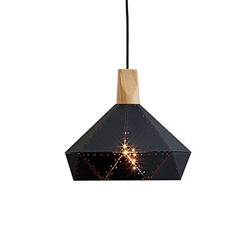 Moderne Hängeleuchte SCANDINAVIA RIVET II schwarz Nieten Massivholz Hängelampe Esszimmerleuchte skandinavisches Design
