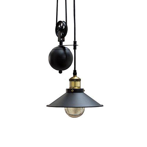 Retro Hängeleuchte Rope Schwarz höhenverstellbar Seilzug Industrial Design Industrielampe Industrieleuchte Pendelleuchte Esszimmer Beleuchtung Hängelampe