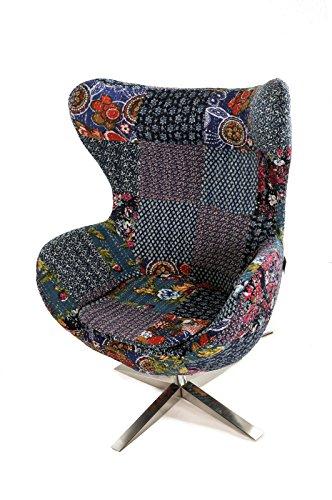 SAM Ohrensessel verstellbar, buntes Flickenmuster, Stoff, 4620-CPG17, Armlehnstuhl 360° drehbar, Edelstahlfuß, abnehmbares Sitzkissen