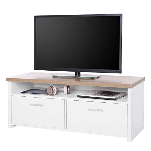 SONGMICS Fernsehtisch, TV-Schrank mit Fächern und Klapptüren, Fernsehschrank,TV Board, Lowboard, Tisch TV Möbel Weiß + holzfarben, LTC01WN