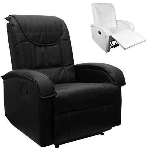STILISTA TV Relaxsessel aus Echtleder, mit ausklappbarer Fußstütze, bequeme Polsterung, Farbe schwarz oder weiß, schadstoffgeprüft