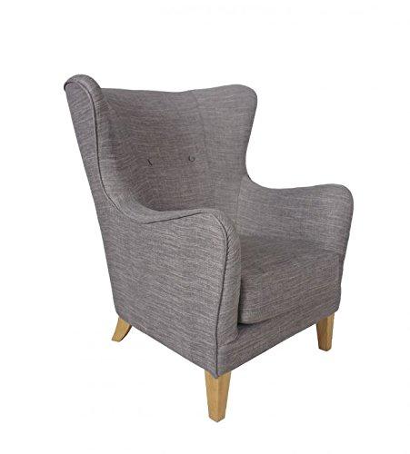 SalesFever® Relaxsessel Houston, in Grau, Armlehne, mit Stoffbezug aus Polyester, Zierknöpfe an Rückenlehne, Pflegeleichte Oberfläche, hoher Sitzkomfort