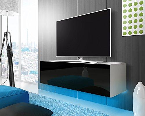TV Schrank Lowboard Hängeboard SIMPLE mit LED Blau (Weiß Matt / Schwarz Hochglanz 140 cm)
