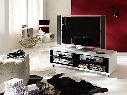 TV-lowboard, TV-Board, TV-Tisch Jeff7XL, weiss / schwarz mit Rollen