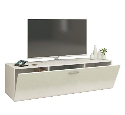"""VCM TV Wand Board Schrank Tisch Fernsehtisch Lowboard Wohnwand Regal Wandschrank Hängend Weiß 40 x 140 x 36 cm """"Fernso"""""""