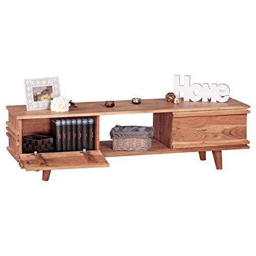 WOHNLING Lowboard Massivholz Kommode 145 cm TV-Board Ablage-Fach Landhaus-Stil Unterschrank TV-Möbel Echt-Holz Hifi-Rack 41 cm hoch Sideboard tief Deko Fernsehschrank offen Natur-Produkt