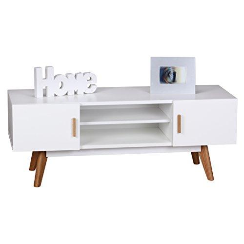 WOHNLING Retro TV Lowboard SCANIO 120 cm MDF-Holz Landhaus 2 Türen & Fach | HiFi Regal 4 Füße | Fernseher Kommode Skandinavisch