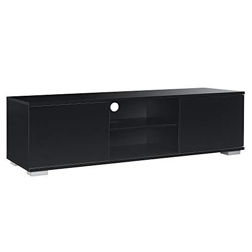 [en.casa] Fernsehtisch - Weiß/Schwarz, 34,5x120x40 cm - TV Lowboard Board Fernseher Schrank Unterschrank