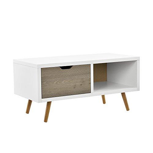 [en.casa] Retro Kommode Genf/Sideboard / TV Lowboard/Beistelltisch mit Einem Schubkasten und Einem Staufach - Eiche/weiß/Grau