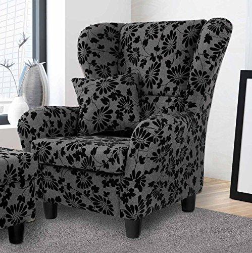 lifestyle4living Ohrensessel in grau mit Blumenmuster | Der perfekte Sessel für entspannte, Lange Fernseh- und Leseabende. Abschalten und genießen!