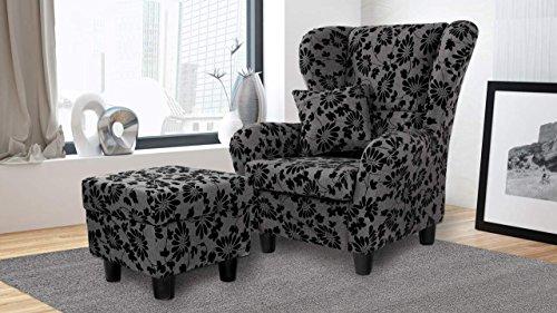 lifestyle4living Ohrensessel mit Hocker Blumenmuster in Grau | Der perfekte Sessel für entspannte, Lange Fernseh- und Leseabende. Abschalten und genießen!