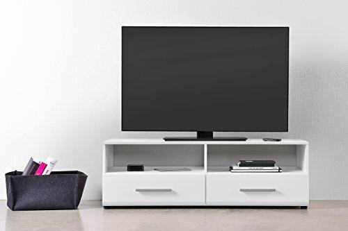 qovi9 'Der Entertainer' TV Schrank, TV Board, Lowboard, Fernsehtisch, Fernsehschrank in Weiß Hochglanz mit Schubladen & Fächern, 120x45x40 cm (B/H/T), Made IN Germany!