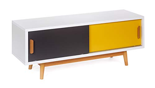 ts-ideen Sideboard Kommode Lowboard TV-Bank Weiss Gelb Dunkelgrau 120 x 50 cm