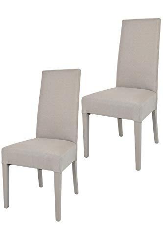 Tommychairs - 2er Set Moderne Stühle Chiara für Küche und Esszimmer, Struktur aus lackiertem Buchenholz Farbe Gämse, Gepolstert und mit Stoff in der Farbe Gämse bezogen