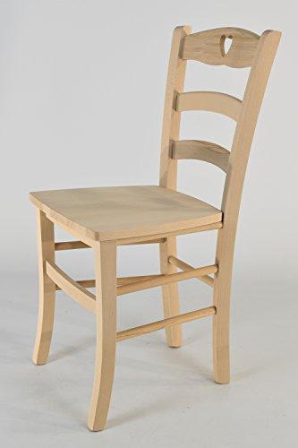 Tommychairs 2er Set Stühle Cuore 38 Struktur aus poliertem Buchenholz, unbehandelt und 100% natürlich, im natürlichen Farbton und mit Einer angelehnten Sitzfläche aus poliertem Holz