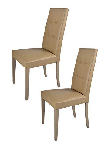 Tommychairs 2er Set Stühle Giada Tria, Struktur aus lackiertem Buchenholz Farbe Cappuccino, gepolstert mit Kunstleder bezogen. Set von 2 Stühlen Giada Tria
