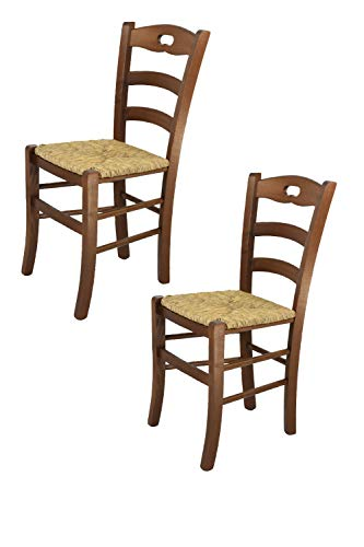 Tommychairs - 2er Set Stühle Savoie 38 für die Küche und Esszimmer, Robuste Struktur aus lackiertem Buchenholz, im Farbton Nuss und Sitzfläche in strohähnlicher Struktur