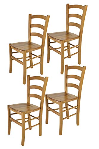 Tommychairs - 4er Set Stühle Venice für Küche und Esszimmer, robuste Struktur aus lackiertem Buchenholz im Farbton Eichenholz und Sitzfläche aus Holz. Set bestehend aus 4 Stühlen Venice