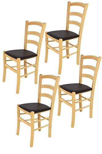 Tommychairs 4er Set Stühle Venice, robuste Struktur aus lackiertem Buchenholz im Farbton Naturfarben und Sitzfläche mit Kunstleder in der Farbe Mokka bezogen. Set bestehend aus 4 Stühlen Venice