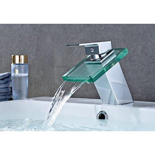 Auralum Chrom Armatur Wasserhahn Waschtischarmatur mit Glas Wasserfall Einhandmischer für Bad Badezimmer Waschbecken