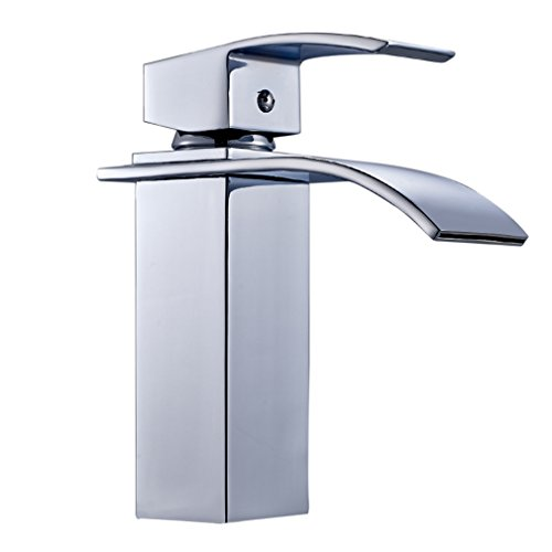 Auralum® Wasserhahn für Waschbecken Wasserfall Wasserhahn Küche und Bad cromo-plateada Messing