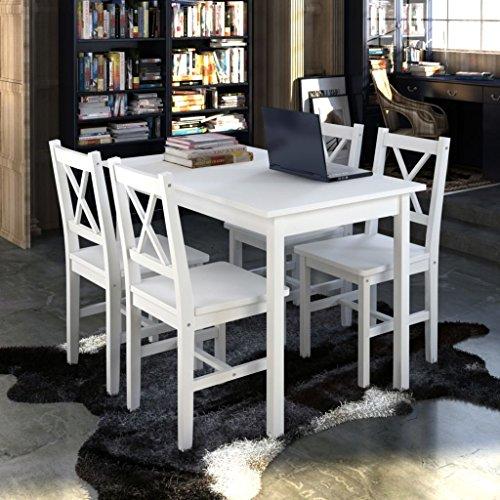 Holztisch mit 4 Stühlen Esstisch Set Weiß Esszimmer Set Massiv Essgruppe 108 x 65 x 73 cm
