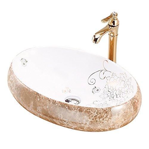 HomeLava Badezimmer-Waschbecken Weiß Keramikbecken Set (Wasserhahn nicht im Lieferumfang enthalten)