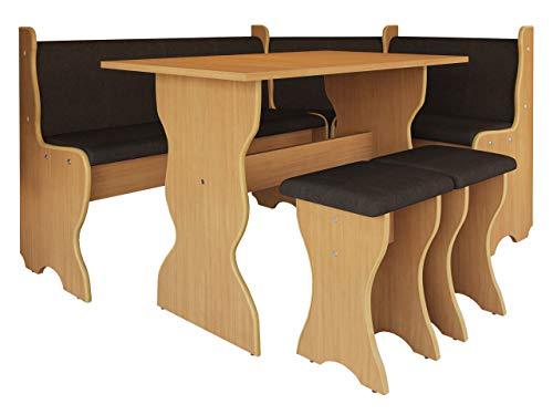 Mirjan24  Eckbankgruppe Thomas, Eckbank Gruppe besteht aus Kücheneckbank, Tisch, 2X Hocker, Esszimmer Sitzbank