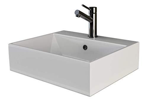 VILSTEIN Keramik Waschbecken Hängewaschbecken Aufsatzwaschbecken Waschtisch rechteckig eckig weiss ca. 50 cm