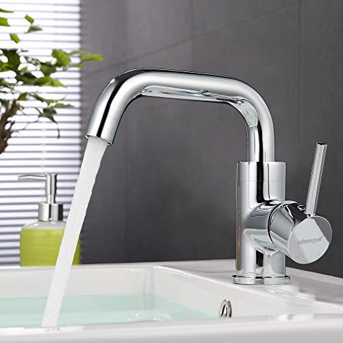 ubeegol 360° Drehbar Wasserhahn Bad Waschtischarmatur Mischbatterie Waschbeckenarmatur Badarmatur Waschtisch Armatur Waschbecken Einhebelmischer Messing Chrom
