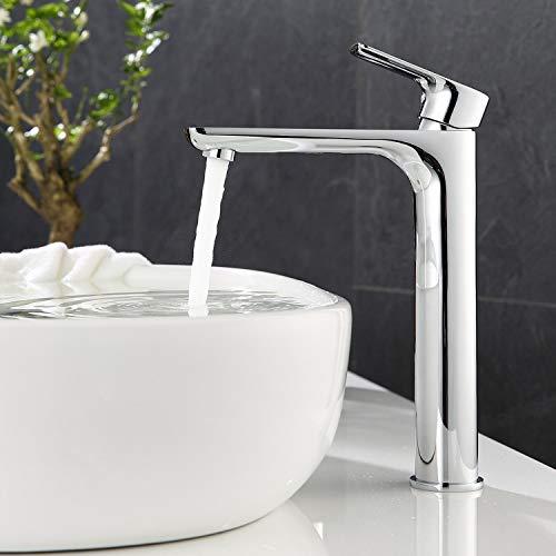 ubeegol Messing Chrom Wasserhahn Bad Hoch Waschtischarmatur Hoher Auslauf Armatur Aufsatzwaschbecken Mischbatterie Badarmatur Waschtisch Einhebelmischer