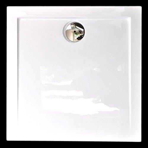 Art of Baan - Extra flache Duschtasse, Duschwanne aus Acryl, glatt Weiß Hochglanz; 90x90x3,5cm inkl. Ablaufgarnitur