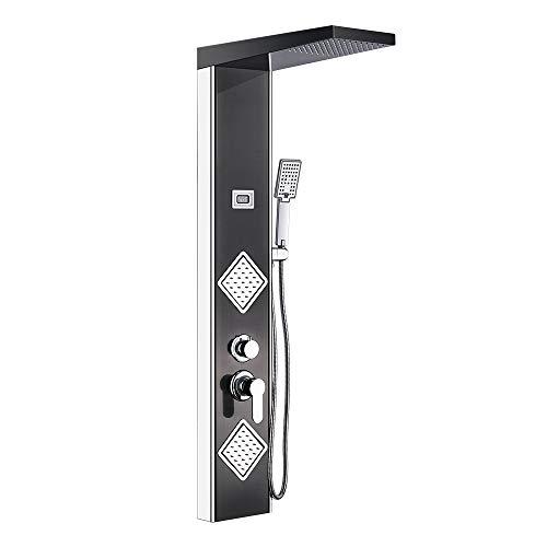 Auralum® 304 Edelstahl Duschpaneel-Set mit Top Spray+Handbrause+Rückseitedusche Duschsystem mit LED-Temperaturanzeige Klassisch-Schwarz