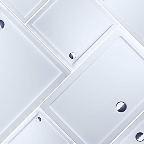 Duschtasse, Duschwanne, Rechteckwanne, Extraflach aus Acryl in Weiß, Rechteckig, DIN-Anschlüsse für bodenebene Montage geeignet, inklusive Ablauf, LDZ0102