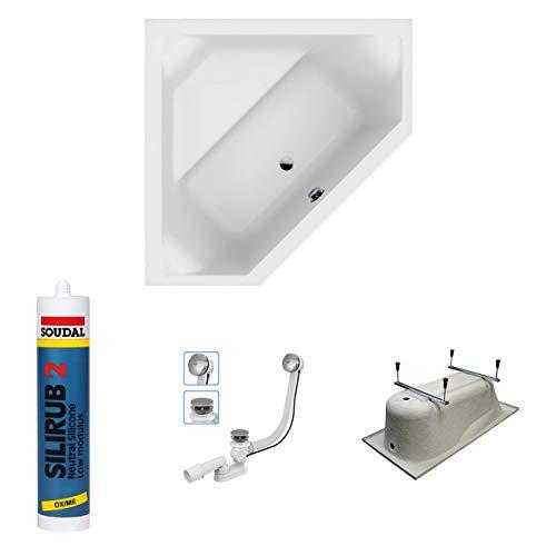 EXCLUSIVE LINE North Bath DOCCIA Rechteckbadewanne Acryl 140x140 cm mit TOP Ablaufgarnitur Hochwertiger Sanitäracryl